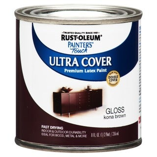Rustoleum 1977-730 1/2 Pint Kona Brown Gloss Painter's Touch Latex Paint