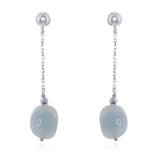 La Preciosa Sterling Silver Aquamarine Nugget Dangle Earrings