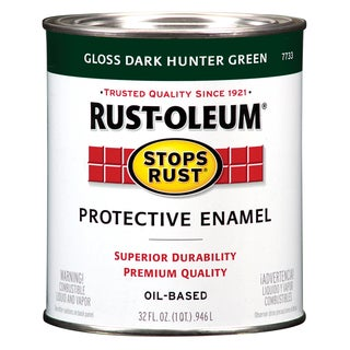 Rustoleum Stops Rust 7733-502 1 Quart Dark Hunter Green Protective Enamel Oil Base Paint