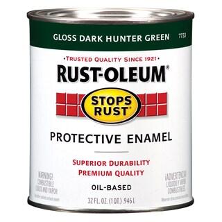 Rustoleum Stops Rust 7733-502 1 Quart Dark Hunter Green Protective Enamel Oil Base Paint