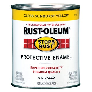 Rustoleum Stops Rust 7747-502 1 Quart Sunburst Yellow Protective Enamel Oil Base Paint