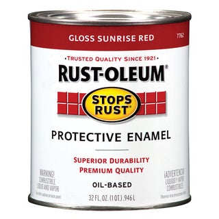 Rustoleum Stops Rust 7762-502 1 Quart Sunrise Red Protective Enamel Oil Base Paint