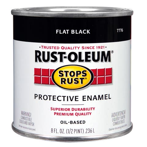 Rustoleum Stops Rust 7776 730 1/2 Pint Flat Black Protective Enamel Oil Base Paint