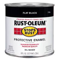 Rustoleum Stops Rust 7776 730 1/2 Pint Flat Black Protective Enamel Oil Base Paint
