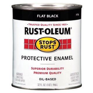 Rustoleum Stops Rust 7776-502 1 Quart Flat Black Protective Enamel Oil Base Paint