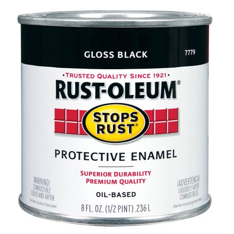 Rustoleum Stops Rust 7779 730 1/2 Pint High Gloss Black Protective Enamel Oil Base Paint