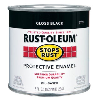 Rustoleum Stops Rust 7779 730 1/2 Pint High Gloss Black Protective Enamel Oil Base Paint