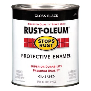 Rustoleum Stops Rust 7779-502 1 Quart High Gloss Black Protective Enamel Oil Base Paint