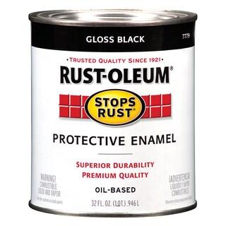 Rustoleum Stops Rust 7779-502 1 Quart High Gloss Black Protective Enamel Oil Base Paint