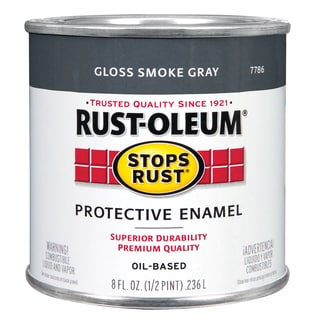 Rustoleum Stops Rust 7786 730 1/2 Pint Smoke Gray Protective Enamel Oil Base Paint