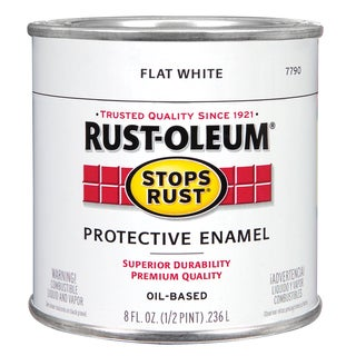 Rustoleum Stops Rust 7790 730 1/2 Pint Flat White Protective Enamel Oil Base Paint