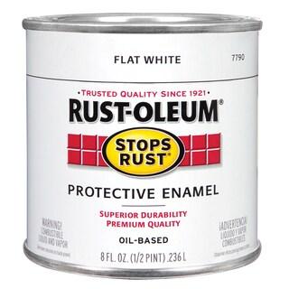 Rustoleum Stops Rust 7790 730 1/2 Pint Flat White Protective Enamel Oil Base Paint