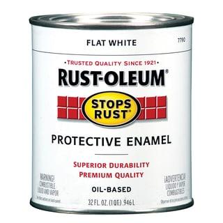 Rustoleum Stops Rust 7790-502 1 Quart Flat White Protective Enamel Oil Base Paint