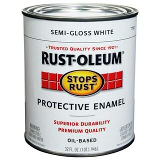 Rustoleum Stops Rust 7797-502 1 Quart Semi Gloss White Protective Enamel Oil Base Paint