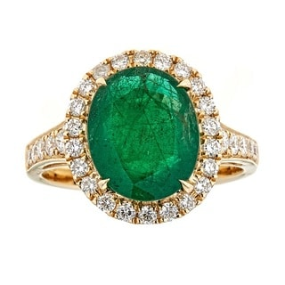 Anika and August 18K Yellow Gold Zambian Emerald and Diamond Ring