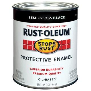 Rustoleum Stops Rust 7798-502 1 Quart Semi Gloss Black Protective Enamel Oil Base Paint