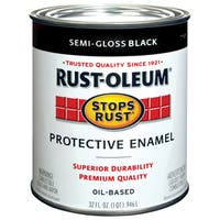Rustoleum Stops Rust 7798-502 1 Quart Semi Gloss Black Protective Enamel Oil Base Paint