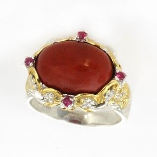 One-of-a-kind Michael Valitutti Oval Cabochon Red Jade Ring with Rubellite Accents