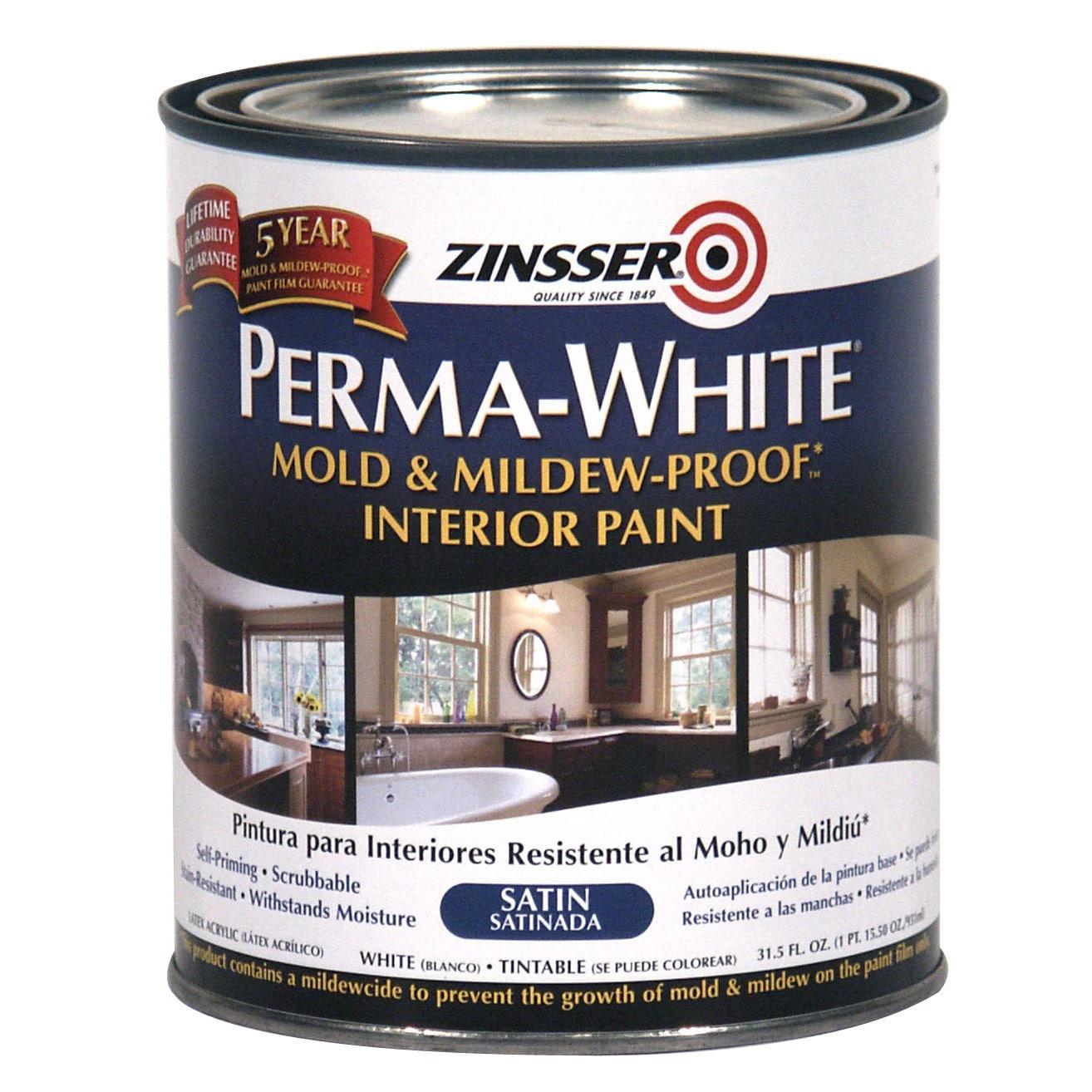 Zinsser 02704 Quart Satin Gloss Perma-White Mildew-Proof ...