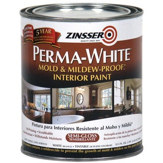 Zinsser 02754 Quart Semi-Gloss Perma-White Mildew-Proof Bathroom Paint