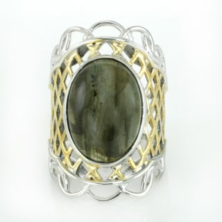 One-of-a-kind Michael Valitutti Oval Cabochon Labradorite Ring