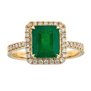 Anika and August 18K Yellow Gold Zambian Emerald and Diamond Ring