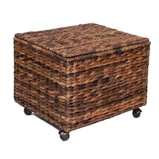 BirdRock Home Espresso Seagrass Rolling File Cabinet