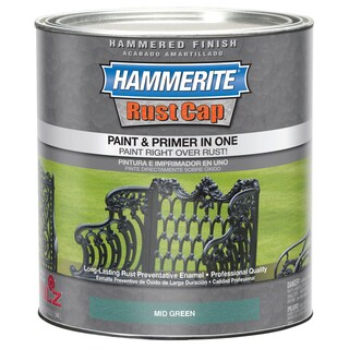 Hammerite Rust Cap 43175 1 Qt Mid Green Hammered Finish Enamel Paint