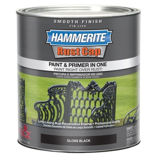 Hammerite Rust Cap 44240 1 Qt Gloss Black Smooth Finish Enamel Paint