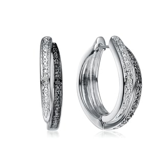 Collette Z Sterling Silver Rhodium And Black Plated Brass With Small Diamond Accents Hoop Earrings