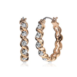 Collette Z Gold Plated Brass With Small Diamond Accents Round Hoop Earrings