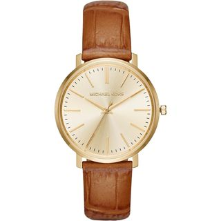 Michael Kors Women's MK2496 'Jaryn' Brown Leather Watch
