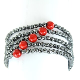 One-of-a-kind Michael Valitutti Multi Strand Red Bamboo Coral and Hematite Bracelet