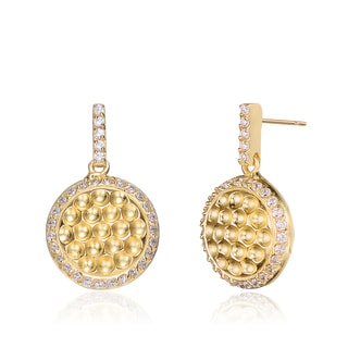 Collette Z C.Z. Sterling Silver Gold Plated Hammered Round Drop Earrings