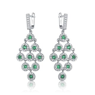 Collette Z C.Z. Sterling Silver Rhodium Plated Emerald Round Chandelier Earrings