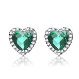 Collette Z C.Z. Sterling Silver Rhodium Plated Emerald Heart Shape Earrings