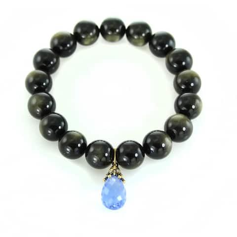 One-of-a-kind Gems en Vogue Blue Quartz Briolette Drop with Tigers Eye Beaded Stretchy Bracelet