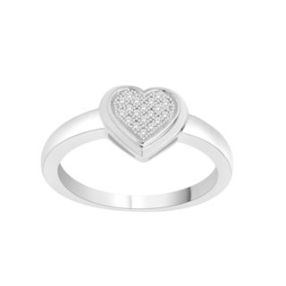 Trillion Designs Sterling Silver 1/20ct TDW Natural Diamond Heart Ring