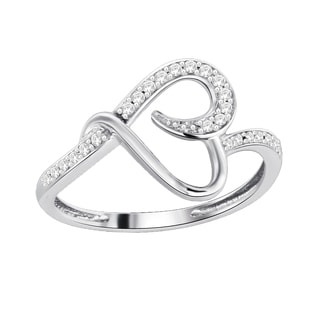 Trillion Designs Sterling Silver 1/10ct TDW Natural Diamond Heart Promise Engagement Ring