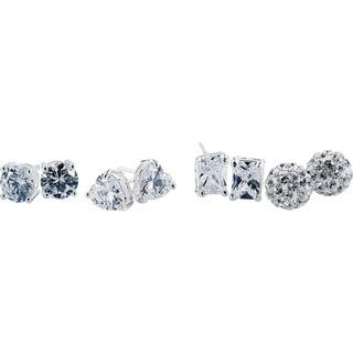 Women's Austrian Crystal Sterling Silver Stud Earrings (4 Pair)