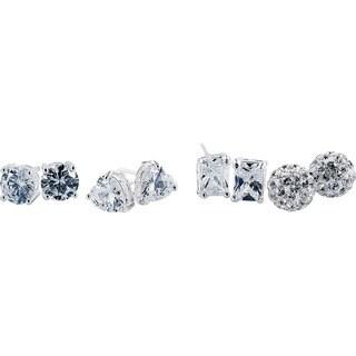 Hakbaho Jewelry Women's Austrian Cubic Zircon Sterling Silver Stud Earrings (4 Pair)