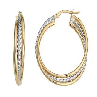 Fremada Italian 14k Two-tone Gold Overlapping Triple Oval Hoop Earrings