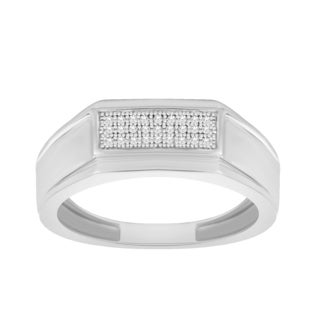 Trillion Designs Men's .925 Sterling Silver 1/20-carat Natural H-I, I2 Diamond Band