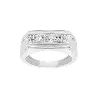 Trillion Designs Men's Sterling Silver 1/10-carat Natural Diamond Band