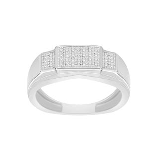 Trillion Designs S925 Sterling Silver 1/10 CTW Natural Diamond (H-I, I2) Men's Wedding Band