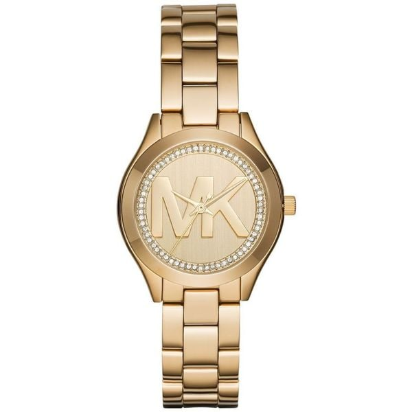 00b29853e123 Shop Michael Kors Women s MK3477  Mini Runway  MK Logo Crystal Gold-tone  Stainless Steel Watch - Free Shipping Today - Overstock - 12429915