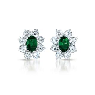 Collette Z C.Z. Sterling Silver Rhodium Plated Emerald Flower Shape Earrings