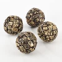 Wooden Bark Design Spheres - Set of 4
