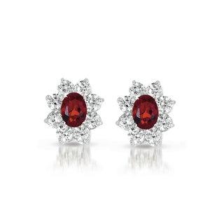Collette Z C.Z. Sterling Silver Rhodium Plated Ruby Flower Shape Earrings