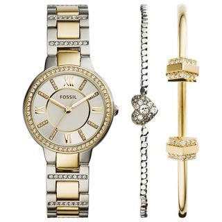 Fossil Women's ES3871SET 'Virginia' Bracelet and Bangle Crystal Two-Tone Stainless Steel Watch